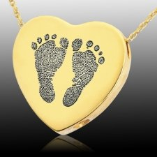 Foot Prints 14k Gold Cremation Keepsake