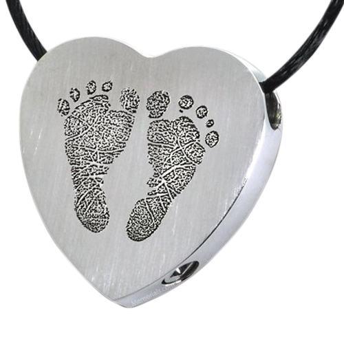 Foot Prints Stainless Cremation Keepsake