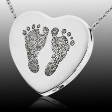 Foot Prints 14k White Gold Cremation Keepsake