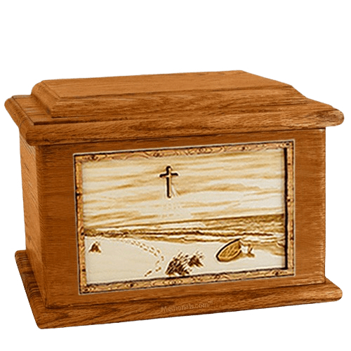Footprints Mahogany Memory Chest Cremation Urn