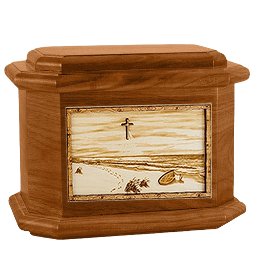 Footprints Mahogany Octagon Cremation Urn