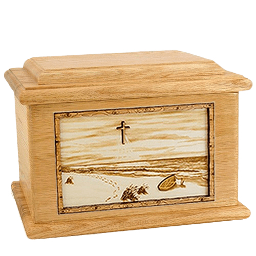 Footprints Oak Memory Chest Cremation Urn