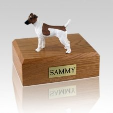 Fox Terrier Smooth Brown & White Large Dog Urn