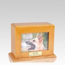 Framed Oak Horizontal Photo Medium Pet Urn