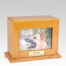 Framed Oak Horizontal Photo Large Pet Urn