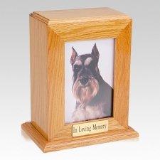 Framed Oak Vertical Photo Large Pet Urn