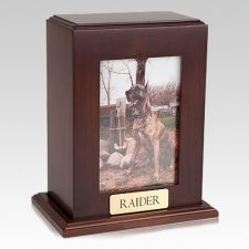 Framed Walnut Vertical Photo Large Pet Urn