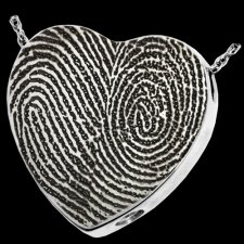 Full Heart 14k White Gold Cremation Print Keepsake