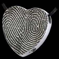 Full Heart Stainless Cremation Print Keepsake