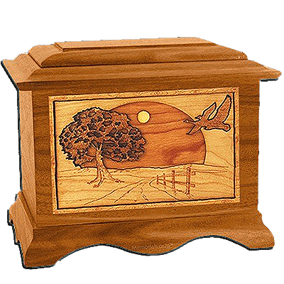 Geese Mahogany Cremation Urn For Two