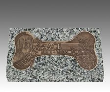 Dog Bone Bronze Grave Marker