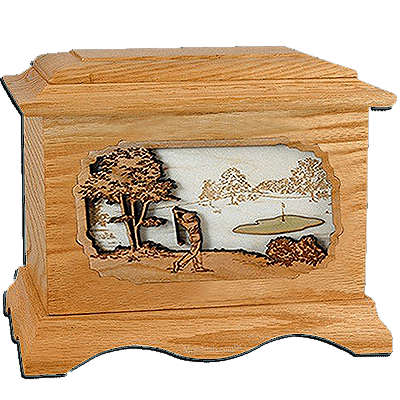Golf Oak Cremation Urn for Two