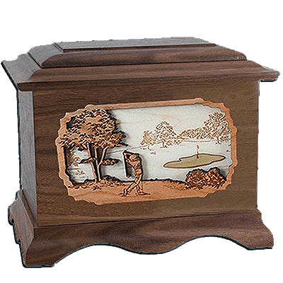 Golf Walnut Cremation Urn For Two