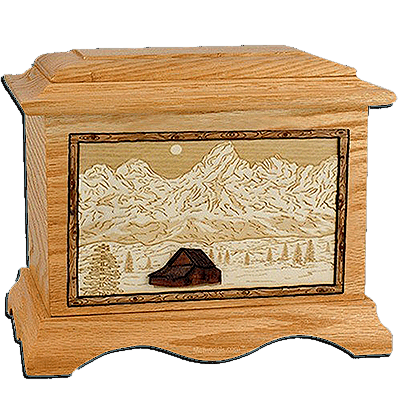 Grand Tetons Oak Cremation Urn For Two