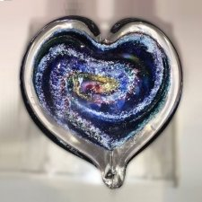 Galaxy Heart Ash Glass Weight
