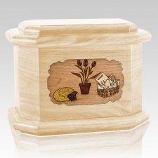 Gardening Maple Octagon Cremation Urn