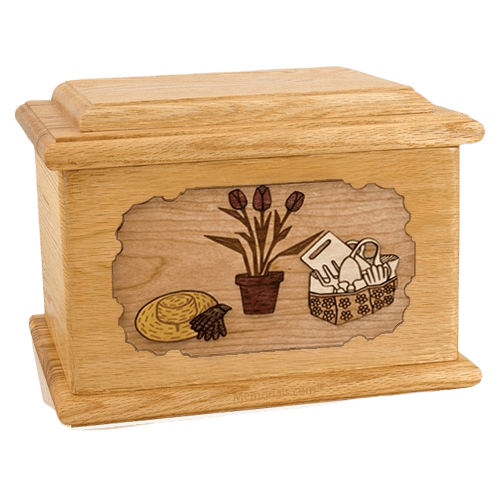 Gardening Oak Memory Chest Cremation Urn