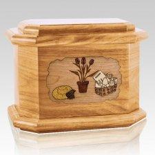 Gardening Oak Octagon Cremation Urn