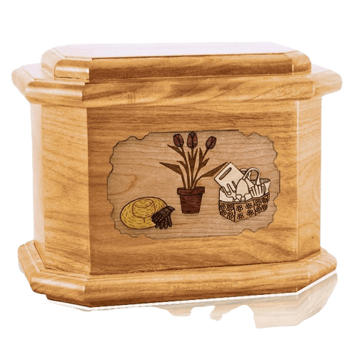 Gardening Oak Octagon Cremation Urn