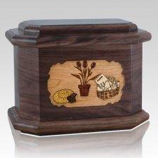 Gardening Walnut Octagon Cremation Urn
