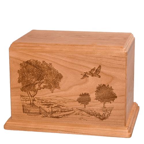 Geese Companion Cherry Wood Urn