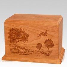 Geese Companion Mahogany Wood Urn