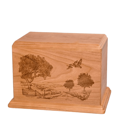 Geese Individual Cherry Wood Urn