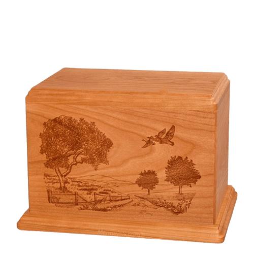 Geese Individual Mahogany Wood Urn
