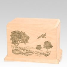 Geese Individual Maple Wood Urn