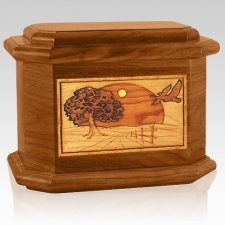 Geese Mahogany Octagon Cremation Urn