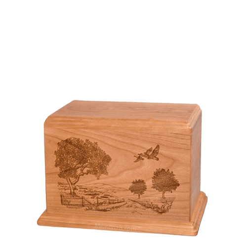 Geese Small Cherry Wood Urn