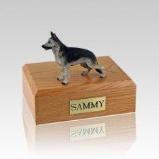 German Shepherd Black & Silver Medium Dog Urn