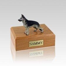 German Shepherd Black & Silver Small Dog Urn