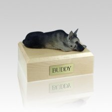 German Shepherd Black & Silver Laying Small Dog Urn
