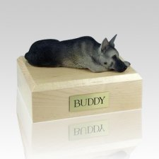 German Shepherd Black & Silver Laying Dog Urns