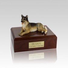 German Shepherd Laying Small Dog Urn