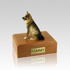 German Shepherd Sitting Small Dog Urn