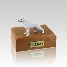 German Shepherd White Small Dog Urn