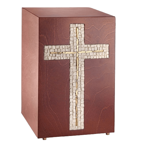 Gilded Cross Mosaic Cremation Urn