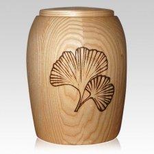 Ginkgo Leafs Wood Cremation Urn