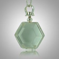 Hexagon Glass Locket Memorial Jewelry