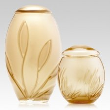 Gold Bloom Glass Cremation Urns
