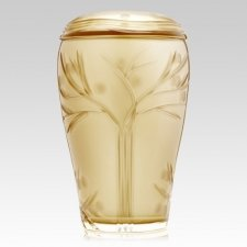 Gold Leafs Glass Cremation Urn