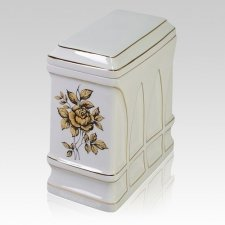 Gold Rose Porcelain Cremation Urn