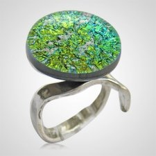 Golden Green Memorial Ashes Ring