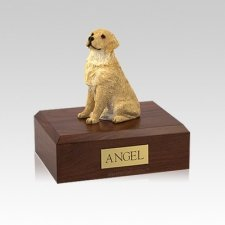 Golden Retriever Blond Sitting Small Dog Urn