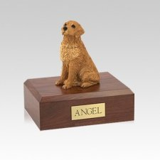 Golden Retriever Golden Sitting Small Dog Urn