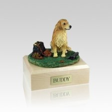 Golden Retriever With Stump Small Dog Urn