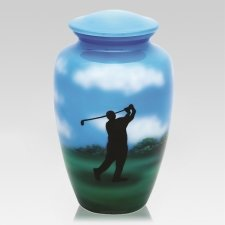 Golfer Metal Cremation Urn