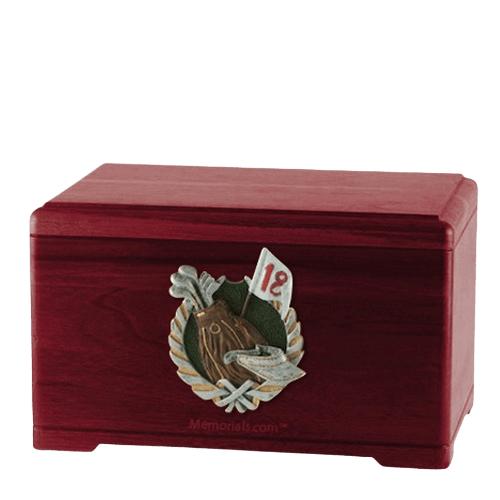 Golfer Rosewood Cremation Urn
